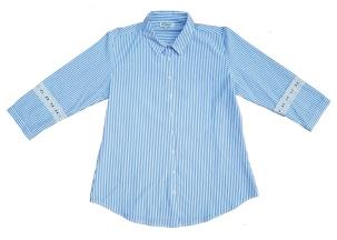 Camisa rayada CON DETALLES DE BRODERIE EN MANGAS $1500 aprox