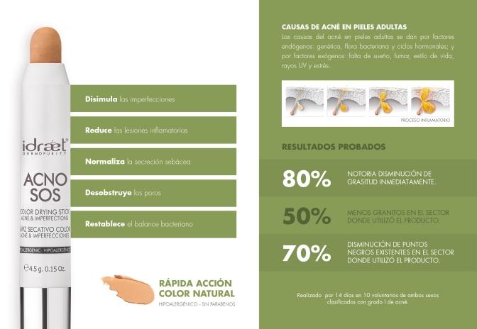 Acnos SOS: el lapiz secativo de Idraet para acne e imperfecciones